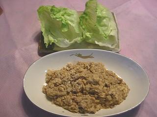 豆腐、レンコン&エリンギ肉味噌レタス巻き